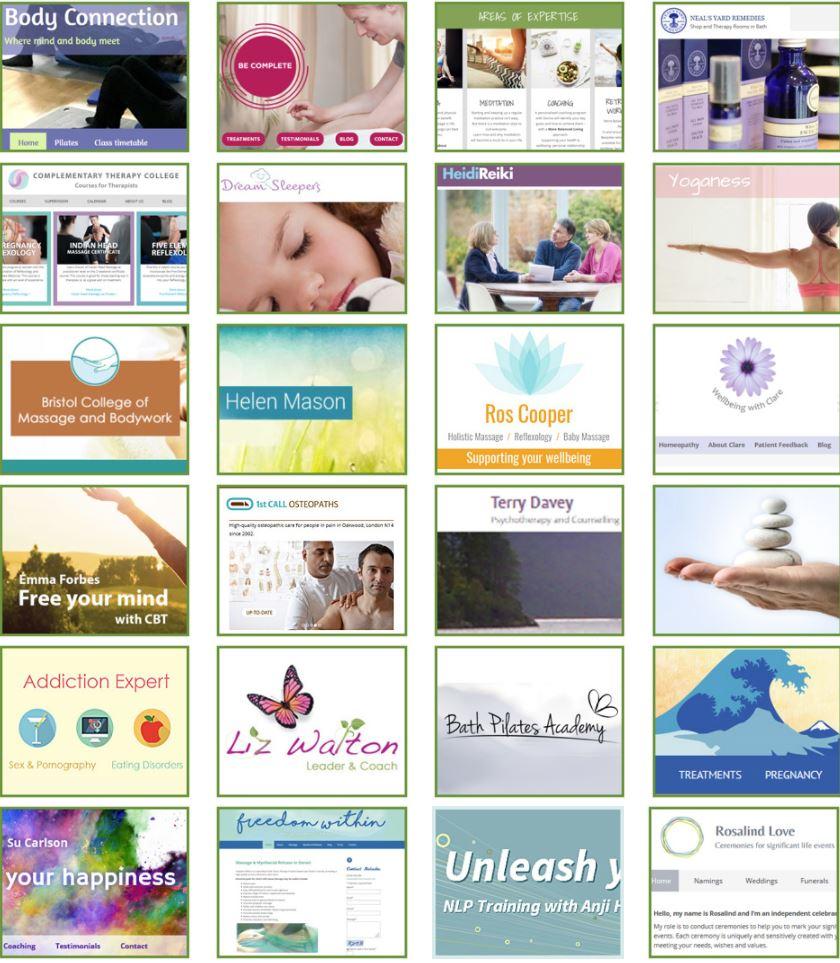 screenshots of websites